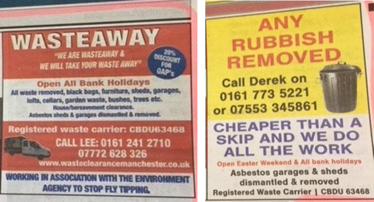 Classified Adverts From Local Newspaper with Same Waste Carrier Details
