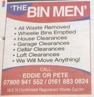 Newspaper Classified Ad claiming the M.E.N. confirmed their licence