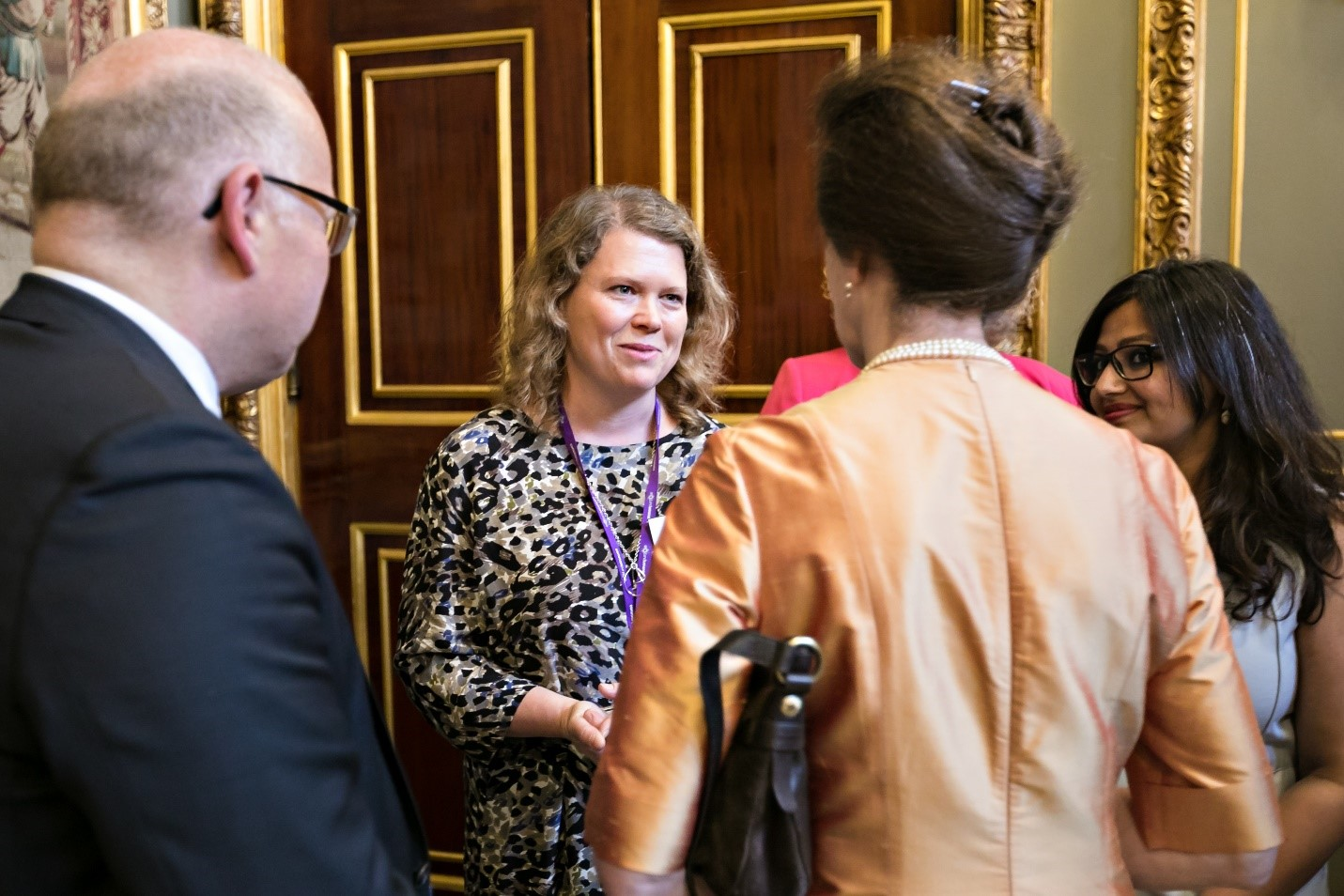 Photograph of Sophie Walker meeting Princess Royal Anne at the CSC Leaders Programme run by Common Purpose
