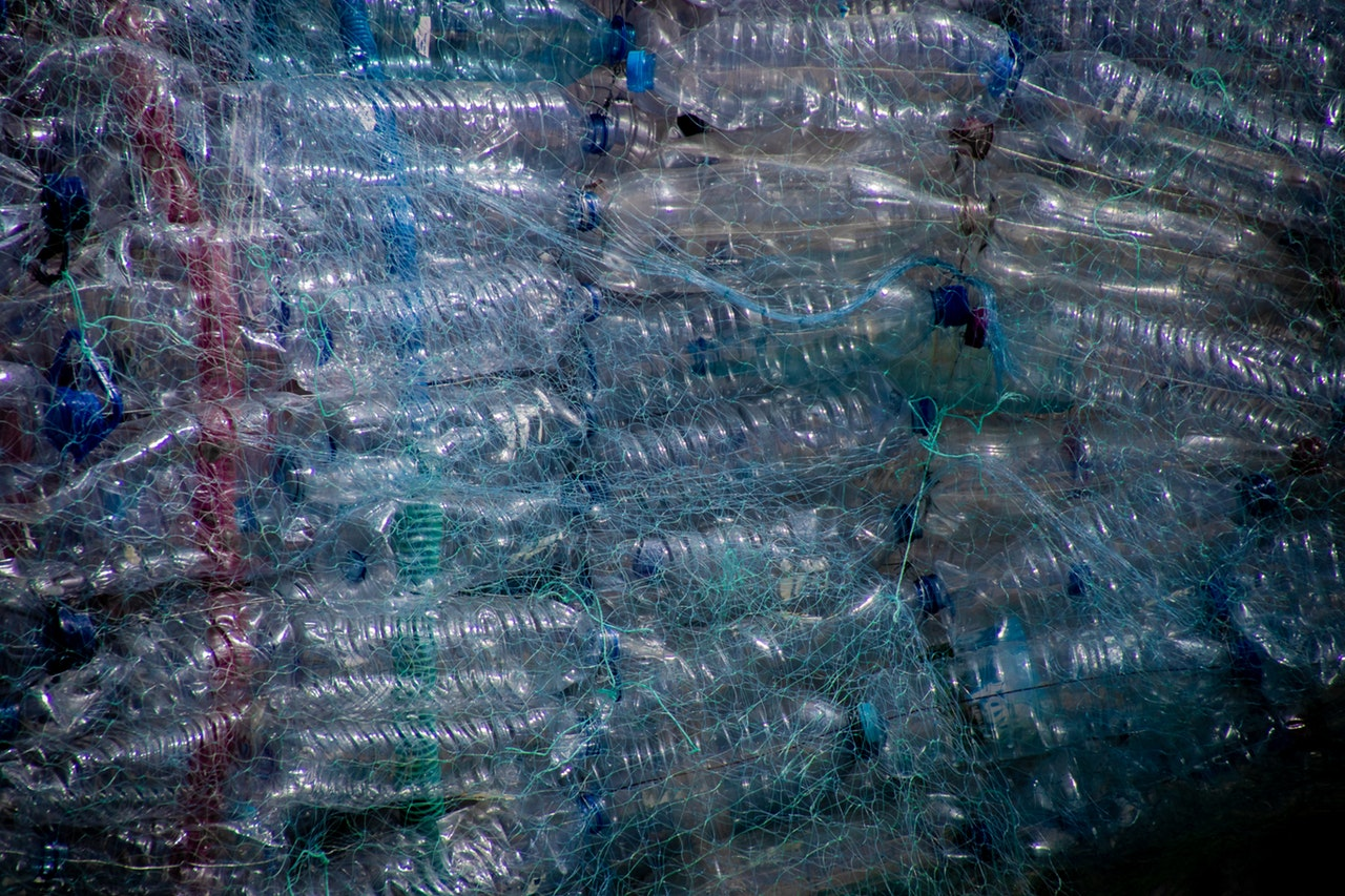 Net full of plastic bottles